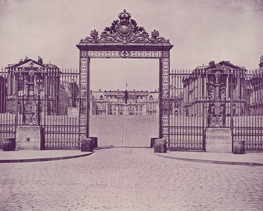 """Entrance to the Palace of Versailles. Illustration for Beautiful Paris with over 400 views taken by Mr A Pepper, Official Photographer of the French Government, with introduction by J W Buel (Arkell Weekly, 1894).  No further info found on """"Mr A Pepper""""."""
