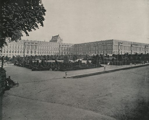"""View of the Palace of Versailles, from the Park. Illustration for Beautiful Paris with over 400 views taken by Mr A Pepper, Official Photographer of the French Government, with introduction by J W Buel (Arkell Weekly, 1894).  No further info found on """"Mr A Pepper""""."""