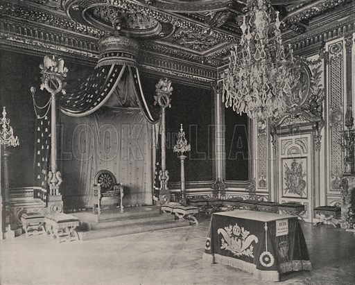 """Throne Room, Palace of Fontainebleau. Illustration for Beautiful Paris with over 400 views taken by Mr A Pepper, Official Photographer of the French Government, with introduction by J W Buel (Arkell Weekly, 1894).  No further info found on """"Mr A Pepper""""."""