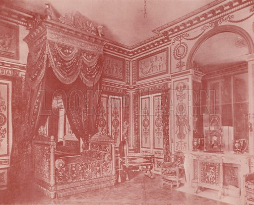 "Bed Room of Napoleon I. Illustration for Beautiful Paris with over 400 views taken by Mr A Pepper, Official Photographer of the French Government, with introduction by J W Buel (Arkell Weekly, 1894).  No further info found on ""Mr A Pepper""."