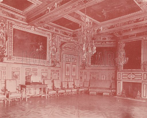 "Salon of Louis XIII, Fontainebleau Palace. Illustration for Beautiful Paris with over 400 views taken by Mr A Pepper, Official Photographer of the French Government, with introduction by J W Buel (Arkell Weekly, 1894).  No further info found on ""Mr A Pepper""."