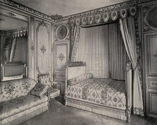 """Bed-Room of Madame de Maintenon, Fontainebleau Palace. Illustration for Beautiful Paris with over 400 views taken by Mr A Pepper, Official Photographer of the French Government, with introduction by J W Buel (Arkell Weekly, 1894).  No further info found on """"Mr A Pepper""""."""