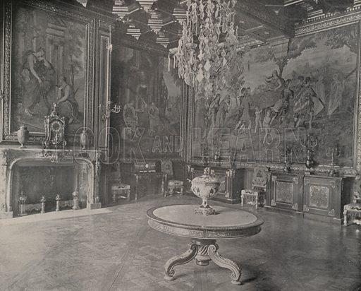 """Drawing Room, Palace of Fontainebleau. Illustration for Beautiful Paris with over 400 views taken by Mr A Pepper, Official Photographer of the French Government, with introduction by J W Buel (Arkell Weekly, 1894).  No further info found on """"Mr A Pepper""""."""