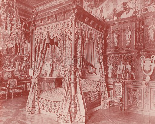 "Bed Room of Anne of Austria, Fontainebleau. Illustration for Beautiful Paris with over 400 views taken by Mr A Pepper, Official Photographer of the French Government, with introduction by J W Buel (Arkell Weekly, 1894).  No further info found on ""Mr A Pepper""."