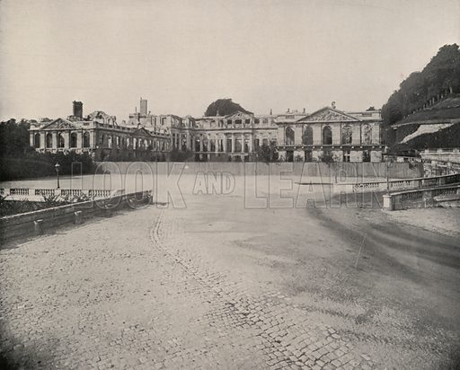 """Ruins of the Palace of St Cloud. Illustration for Beautiful Paris with over 400 views taken by Mr A Pepper, Official Photographer of the French Government, with introduction by J W Buel (Arkell Weekly, 1894).  No further info found on """"Mr A Pepper""""."""