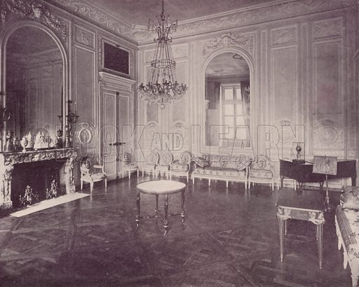 """Drawing Room, Little Trianon. Illustration for Beautiful Paris with over 400 views taken by Mr A Pepper, Official Photographer of the French Government, with introduction by J W Buel (Arkell Weekly, 1894).  No further info found on """"Mr A Pepper""""."""