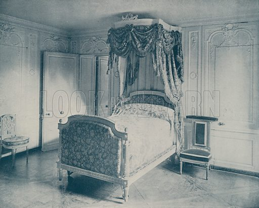 "Bed of Marie Antoinette, Versailles. Illustration for Beautiful Paris with over 400 views taken by Mr A Pepper, Official Photographer of the French Government, with introduction by J W Buel (Arkell Weekly, 1894).  No further info found on ""Mr A Pepper""."