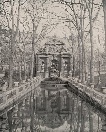 """Fountain of Marie de Medicis. Illustration for Beautiful Paris with over 400 views taken by Mr A Pepper, Official Photographer of the French Government, with introduction by J W Buel (Arkell Weekly, 1894).  No further info found on """"Mr A Pepper""""."""