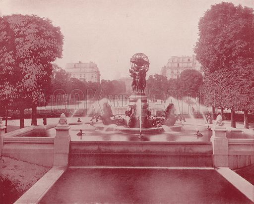 "Fountain of the Observatory, Luxembourg Palace. Illustration for Beautiful Paris with over 400 views taken by Mr A Pepper, Official Photographer of the French Government, with introduction by J W Buel (Arkell Weekly, 1894).  No further info found on ""Mr A Pepper""."