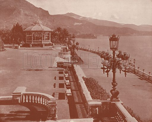 """Sea Terrace of the Casino Gardens. Illustration for Beautiful Paris with over 400 views taken by Mr A Pepper, Official Photographer of the French Government, with introduction by J W Buel (Arkell Weekly, 1894).  No further info found on """"Mr A Pepper""""."""