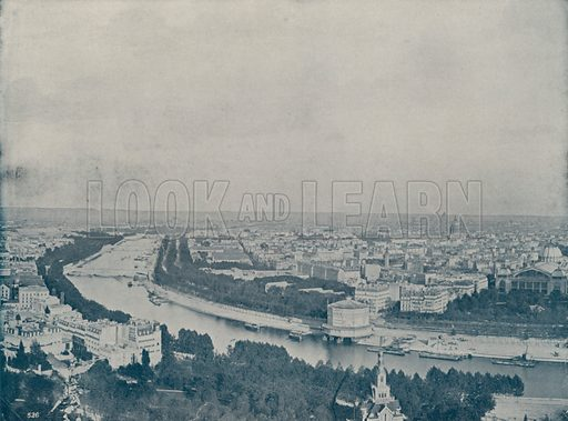 """Panorama of Paris, from the Trocadero. Illustration for Beautiful Paris with over 400 views taken by Mr A Pepper, Official Photographer of the French Government, with introduction by J W Buel (Arkell Weekly, 1894).  No further info found on """"Mr A Pepper""""."""