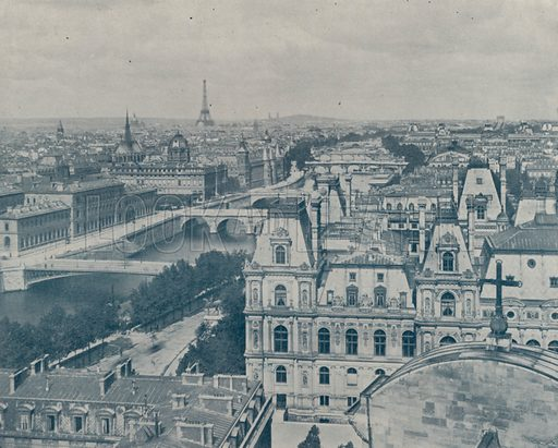 """View of Paris, looking West, from the Church of Saint Gervaise. Illustration for Beautiful Paris with over 400 views taken by Mr A Pepper, Official Photographer of the French Government, with introduction by J W Buel (Arkell Weekly, 1894).  No further info found on """"Mr A Pepper""""."""