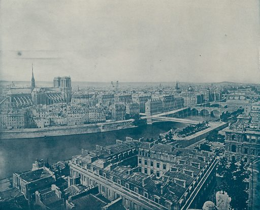"General View of Paris, looking West. Illustration for Beautiful Paris with over 400 views taken by Mr A Pepper, Official Photographer of the French Government, with introduction by J W Buel (Arkell Weekly, 1894).  No further info found on ""Mr A Pepper""."