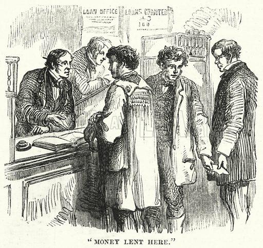"""Money lent here."" Illustration for The British Workman, 1 January 1865."