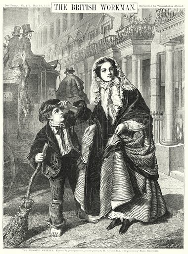 The Crossing Sweeper. Illustration for The British Workman, 1 May 1865.