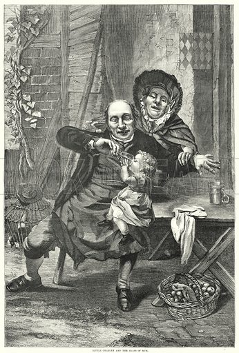 Little Charley and the Glass of Rum. Illustration for The British Workman, 1 May 1865.