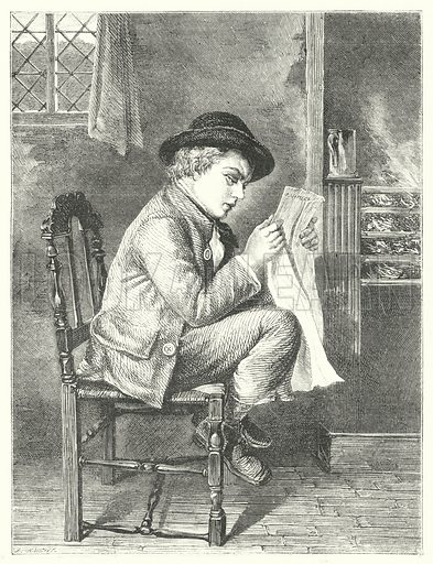 Boy reading newspaper.  Illustration for The British Workman, 1 June 1865.