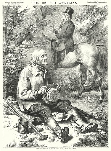 The Richest Man in the Parish. Illustration for The British Workman, 2 October 1865.