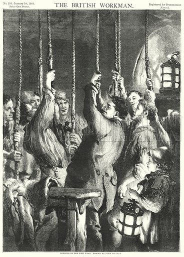 Ringing in the New Year. Illustration for The British Workman, 1 January 1866.