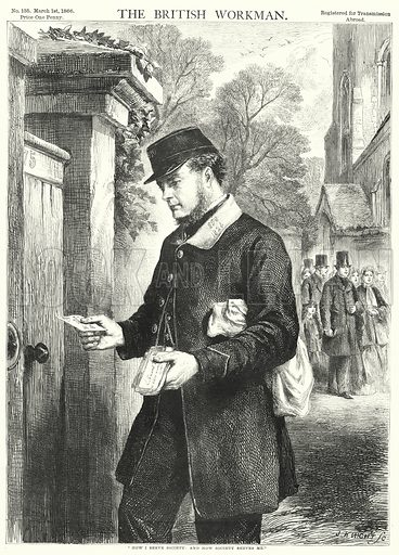 """""""How I serve society, and how society serves me."""" Illustration for The British Workman, 1 March 1866."""