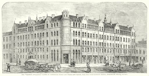 """The """"Peabody Dwellings,"""" Corner of Commercial Street and White Lion Street, near the Great Eastern Station, Bishopgate Street, London. Illustration for The British Workman, 1 February 1866."""