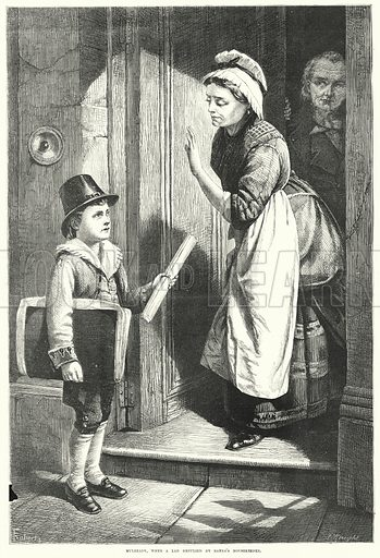 Mulready, When a Lad repulsed by Bank's Housekeeper. Illustration for The British Workman, 1 March 1866.