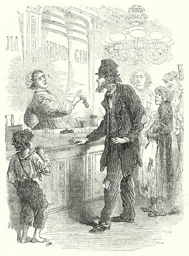 Gin Palace. Illustration for The British Workman, 1 January 1867.