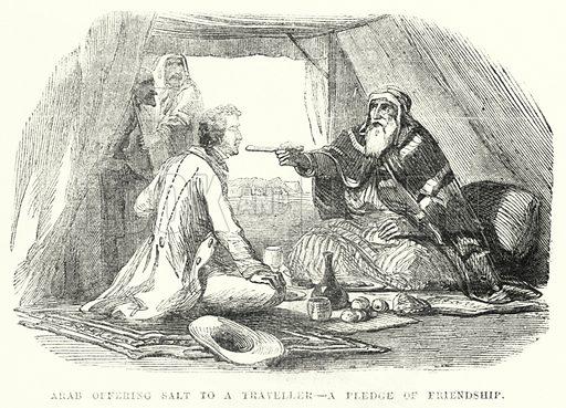 Arab offering Salt to a Traveller, a Pledge of Friendship. Illustration for The British Workman, 1 April 1867.