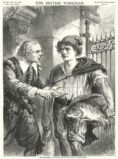 The Fisherman and the Porter, or, the Cost of Covetousness. Illustration for The British Workman, 1 June 1867.