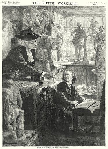 Early Days of Flaxman, the Great Sculptor. Illustration for The British Workman, 1 March 1867.