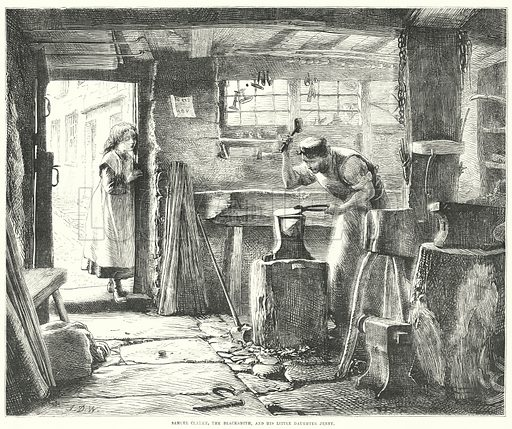 Samuel Clarke, the Blacksmith, and his Little Daughter Jenny. Illustration for The British Workman, 2 December 1867.