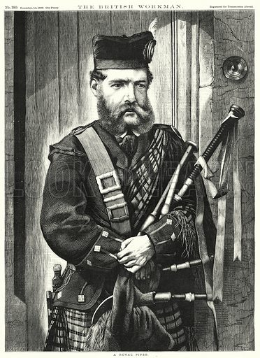 A Royal Piper. Illustration for The British Workman, 1 December 1869.