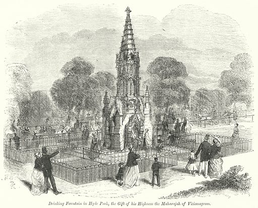 Drinking Fountain in Hyde Park, the Gift of his Highness the Maharajah of Vizianagram. Illustration for The British Workman, 1 July 1868.