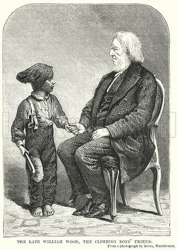 The late William Wood, the Climbing Boy's Friend. Illustration for The British Workman, 1 July 1868.