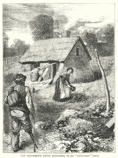 """The Industrious Navvy returning to his """"Rent-Free"""" Home. Illustration for The British Workman, 1 September 1868."""