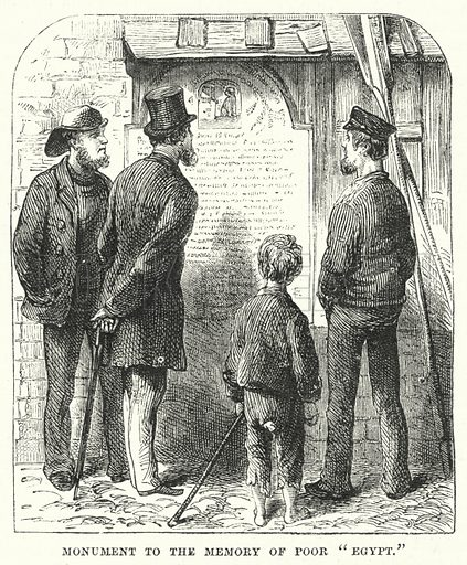 "Monument to the Memory of Poor ""Egypt."" Illustration for The British Workman, 1 September 1868."