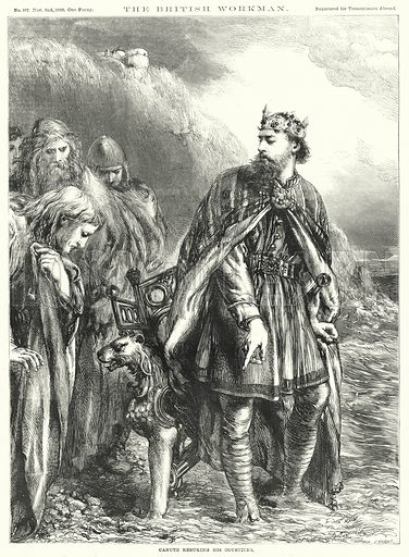 Canute rebuking his Courtiers. Illustration for The British Workman, 2 November 1868.
