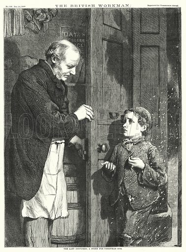 The Last Customer; A Story for Christmas Eve. Illustration for The British Workman, 1 December 1868.