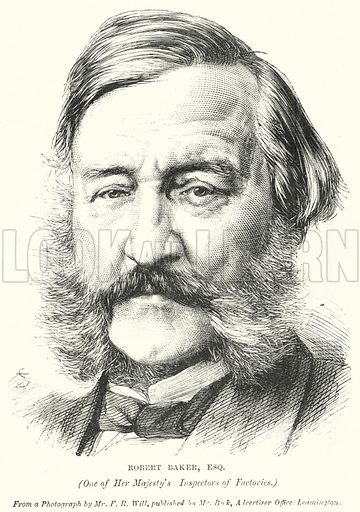 Robert Baker, One of Her Majesty's Inspectors of Factories. Illustration for The British Workman, 1 January 1869.
