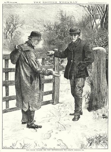 The Snow Track; or, the Impressions We leave behind Us. Illustration for The British Workman, 1 February 1869.