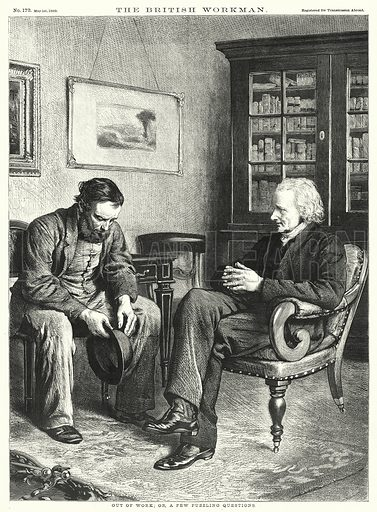 Out of Work; or, a Few Puzzling Questions. Illustration for The British Workman, 1 May 1869.