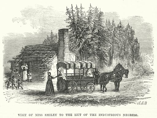 Visit of Miss Smiley to the Hut of the Industrious Negress. Illustration for The British Workman, 1 June 1869.