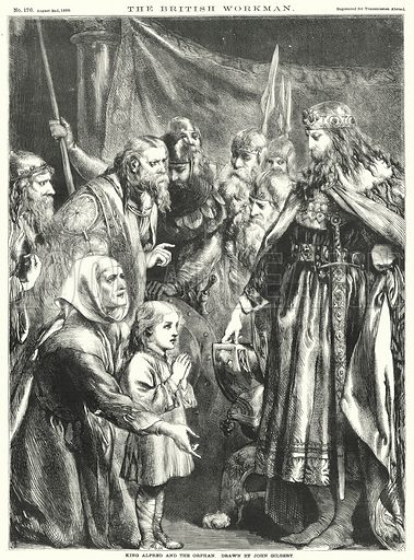 King Alfred and the Orphan. Illustration for The British Workman, 2 August 1869.