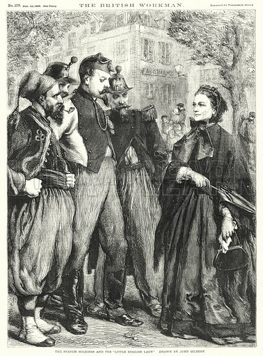 """The French Soldiers and the """"Little English Lady."""" Illustration for The British Workman, 1 September 1869."""