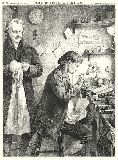 Andrew Reed, the Young Watchmaker. Illustration for The British Workman, 1 October 1869.