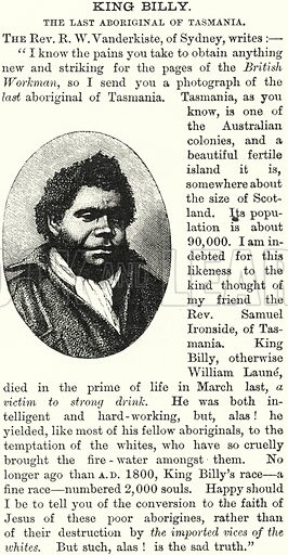King Billy. The Last Aboriginal of Tasmania. Illustration for The British Workman, 1 March 1870.