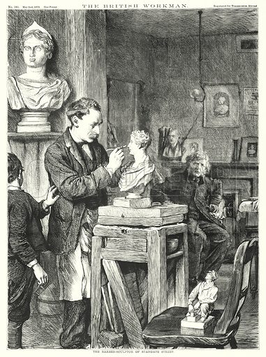 The Barber-Sculptor of Stangate Street. Illustration for The British Workman, 2 May 1870.