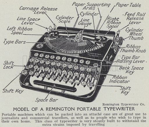 Model of a Remington portable typewriter. Illustration for Harmsworth's Business Encyclopedia and Commercial Educator (c 1926).