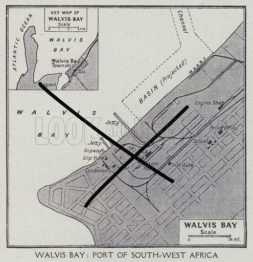 Walvis Bay, Port of South west Africa. Illustration for Harmsworth's Business Encyclopedia and Commercial Educator (c 1926).