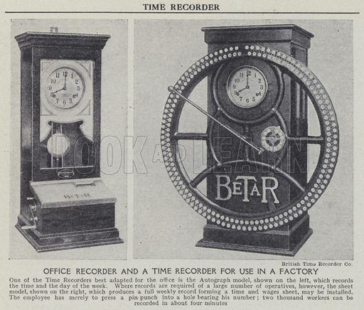 Office recorder and time recorder for use in a factory. Illustration for Harmsworth's Business Encyclopedia and Commercial Educator (c 1926).